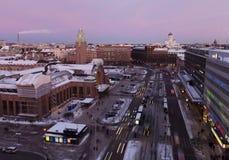 赫尔辛基都市风景黄昏的 免版税库存照片