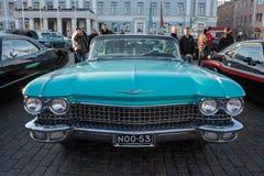 赫尔辛基,芬兰老汽车卡迪拉克 免版税库存图片