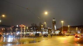 赫尔辛基,芬兰- 2017年1月28日:中心鸟瞰图在晚上 股票录像