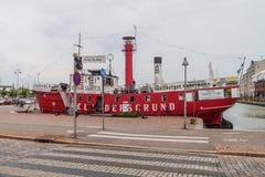 赫尔辛基,芬兰- 2016年8月25日:灯船Relandersgrund,运转作为餐馆toda 免版税库存照片