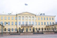 赫尔辛基,芬兰- 2015年12月21日:总统府大厦  免版税库存图片