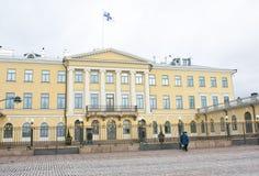 赫尔辛基,芬兰- 2015年12月21日:总统府大厦  免版税库存照片