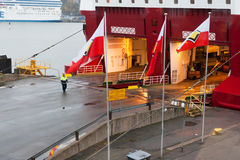 赫尔辛基,芬兰- 10月25 :渡轮北欧海盗线被停泊在市的口岸的停泊赫尔辛基,芬兰10月 库存图片
