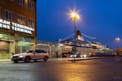 赫尔辛基, FINLAND-JANUARY 5 :轮渡北欧海盗线被停泊在 免版税库存照片