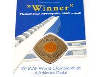 赫尔辛基2005年竞技世界冠军参与奖牌 科沃拉,芬兰06 09 2016年 免版税库存图片