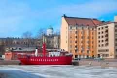 赫尔辛基 芬兰 灯塔船Relandersgrund 免版税图库摄影