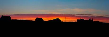 赫布里底群岛的日落全景 免版税库存照片