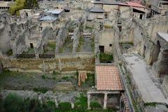 赫库兰尼姆考古学站点,褶皱藻属,意大利 免版税库存图片