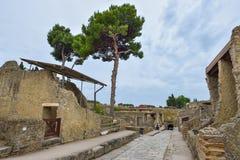 赫库兰尼姆,意大利- 6月01 :赫库兰尼姆古老罗马市废墟, 2016年6月01日的意大利 免版税库存照片
