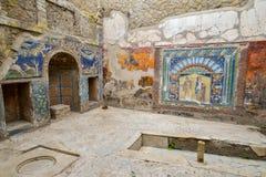 赫库兰尼姆,意大利- 6月01 :赫库兰尼姆古老罗马市废墟, 2016年6月01日的意大利 免版税库存图片
