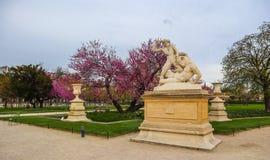赫拉克勒斯和人牛怪雕象在奇妙春天Tuileries庭院里 r 2019?4? 免版税库存图片