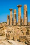 赫拉克勒斯寺庙在寺庙的谷的 阿哥里根托,西西里岛,意大利南部 免版税库存图片