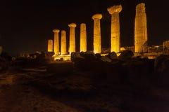 赫拉克勒斯寺庙在阿哥里根托考古学公园 西西里岛 免版税库存图片