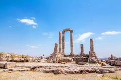 赫拉克勒斯寺庙在阿曼,约旦 免版税库存照片