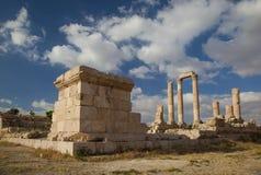 赫拉克勒斯寺庙残余在阿曼约旦 库存照片