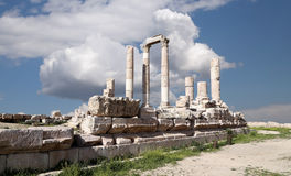 赫拉克勒斯寺庙,阿曼,约旦 免版税库存照片