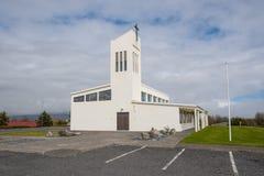 赫本镇教会在冰岛 免版税库存照片