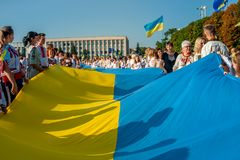 赫梅利尼茨基,乌克兰- 2018年8月24日 传统Ukr的人们 免版税库存图片