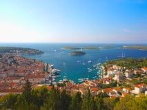 赫瓦尔岛港口,克罗地亚 免版税库存图片