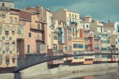 赫罗纳市视图-西班牙 库存图片