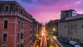 赫诺瓦,意大利- 2017年5月5日:街道的Timelapse在晚上街道的在市中心 股票录像