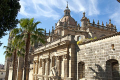 赫雷斯de la弗隆特里圣萨尔瓦多市大教堂  免版税库存照片