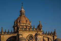 赫雷斯DE LA弗隆特里,安大路西亚/西班牙- 2017年10月11日:赫雷斯大教堂  免版税库存照片