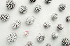走与一个袋子的圣诞老人在雪盖的森林里 CH 库存图片
