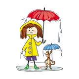 走与一条狗的女孩的图象在雨中 免版税库存图片