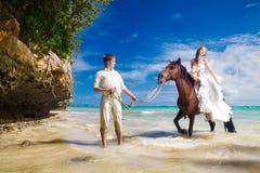 走与在一个热带海滩的马的新娘和新郎 免版税库存图片