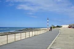 走与在散步的一条狗的妇女沿普利亚,葡萄牙 库存图片
