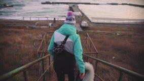 走与在海滩的西伯利亚爱斯基摩人狗的年轻美丽的女性在日落,慢动作 股票录像