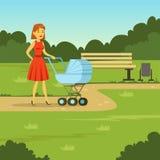 走与婴儿车在公园,平的传染媒介例证的年轻母亲 库存图片