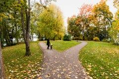 走与小孩的妇女在秋天公园 库存图片