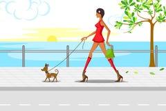 走与小狗的美丽的妇女 免版税库存图片