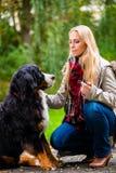 走与狗的妇女在秋天公园 免版税图库摄影