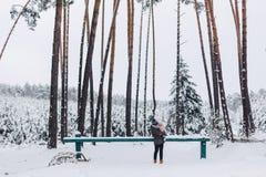 走与积雪的杉木森林的纹身花刺和女儿 免版税图库摄影