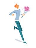 走与花的愉快的人 免版税图库摄影