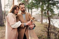 走与起重器罗素狗狗一起的年轻愉快的浪漫夫妇在秋天 库存图片