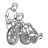 走与轮椅传染媒介不适的妇女的年轻男性照料者 皇族释放例证