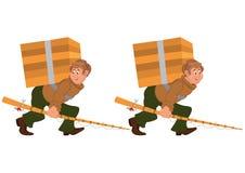 走与钓鱼竿和大箱子的愉快的动画片人 库存照片