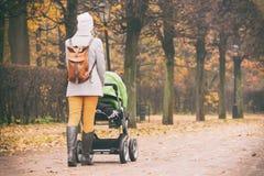 走与婴儿推车的母亲背面图在公园 免版税库存图片