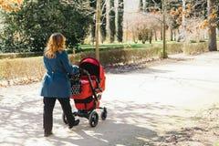 走与婴儿车的母亲 免版税库存图片