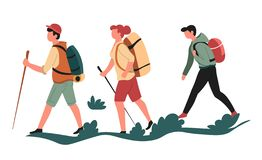 走人和妇女体育或者室外活动的徒步旅行者或背包徒步旅行者 库存例证