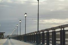 走从在远处的少妇与轮椅的残疾人在码头 图库摄影