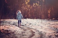 走儿童的女孩路在冬天多雪的森林里 免版税库存图片