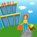 走出去从购物中心传染媒介例证的少妇运载的购物袋 皇族释放例证