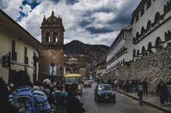 走到圣佩德罗火山市场  库存图片