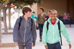 走到高中的两名男学生 库存图片