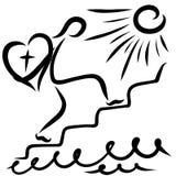 走台阶的一个人到太阳,与心脏和十字架 库存照片
